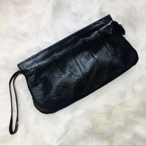 VTG black leather clutch purse wristlet wallet
